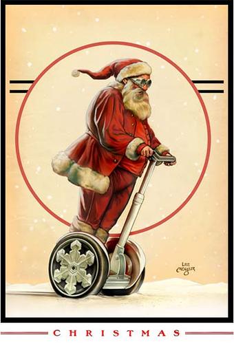 Lee Moyer illustration de Noel avec père Noël en Segway