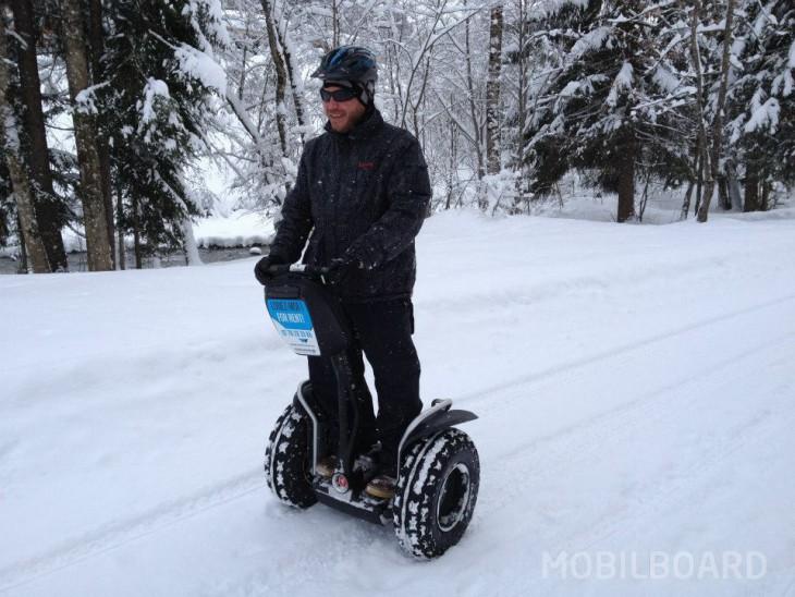 Super sensations avec le gyropode Segway x2 sous la neige