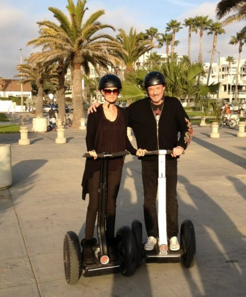 Johnny Hallyday et sa femme Laeticia à gyropode Segway