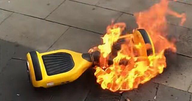 risques et danger hoverboard en feu